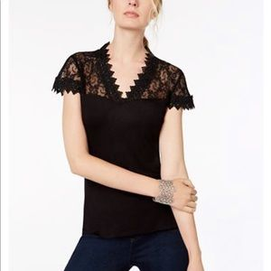 INC International Concepts Cap Sleeve Lace Top L